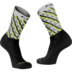 Northwave Core Hoge Sokken Heren, light grey/yellow fluo